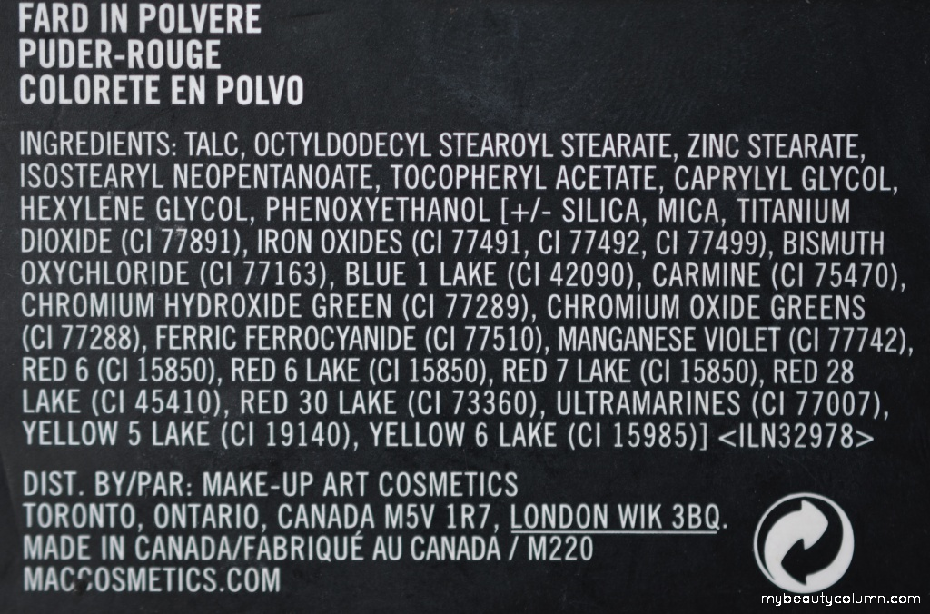 Mac rumenilo Fleur power ingredients