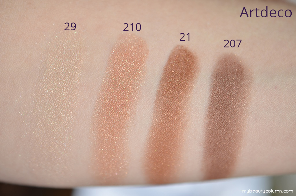 Artdeco eyeshadows swatch