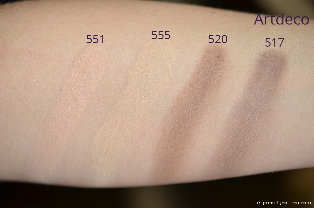 Artdeco eyeshadows swatch matt
