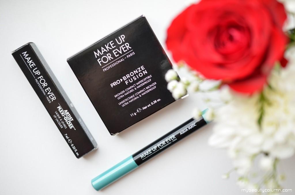 MUFE Pro Bronze Fusion Bronzer, Aqua Matic eyeshadow & Artist Plexi-Gloss