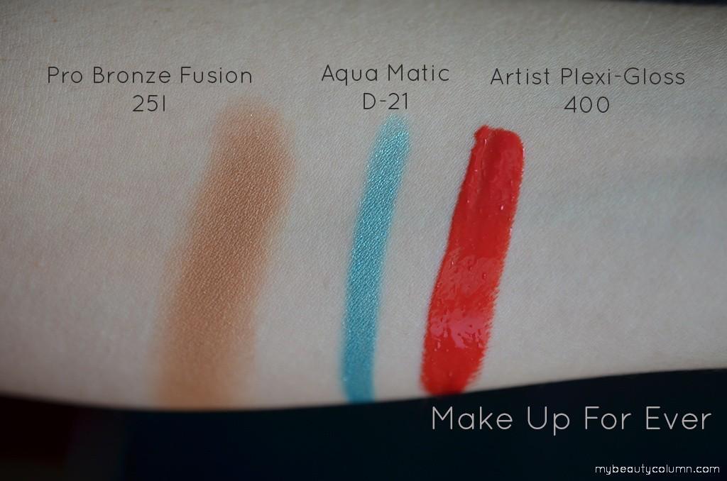 MUFE Swatch: Pro Bronze Fusion 25I & Aqua Matic D-21 & Artist Plexi Gloss 400