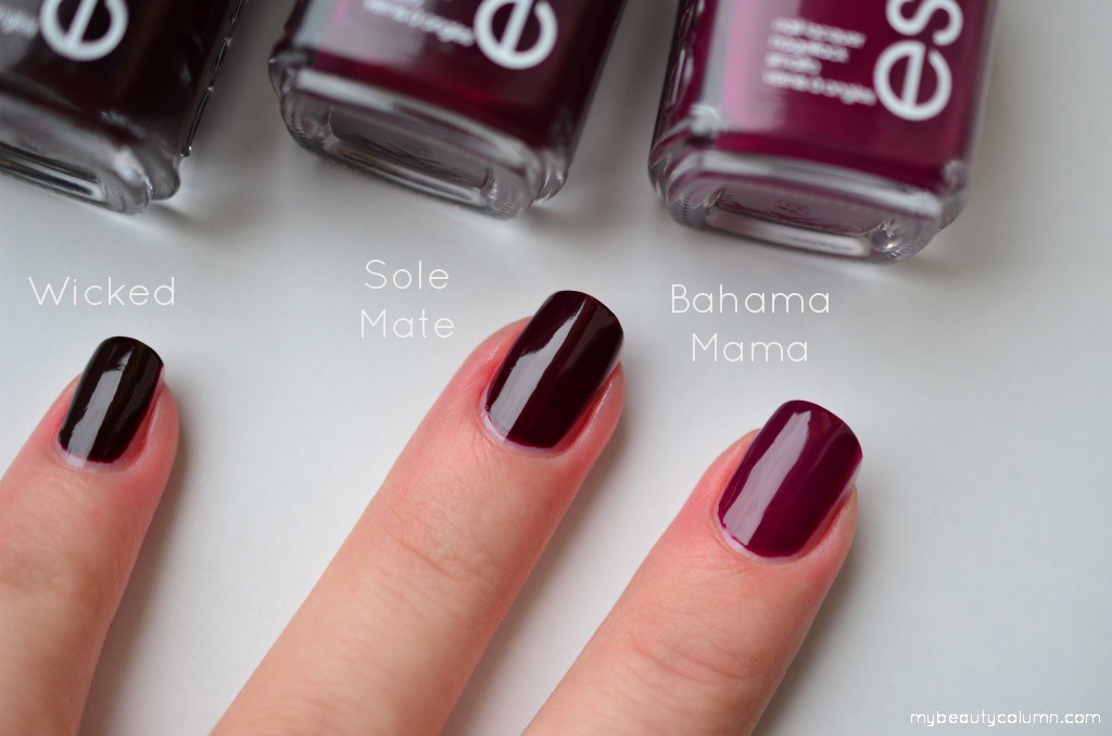 Essie swatches: Bahama Mama vs Sole Mate vs Wicked