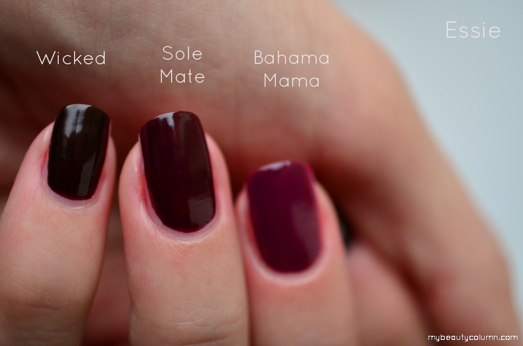 Essie Bahama mama vs Sole mate vs Wicked