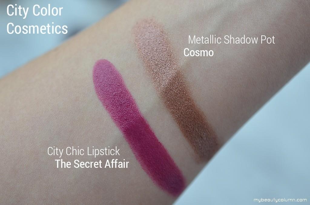 City Color Swatches: City Chic Lipstick - The Secret Affair & Metallic Shadow Pot - Cosmo