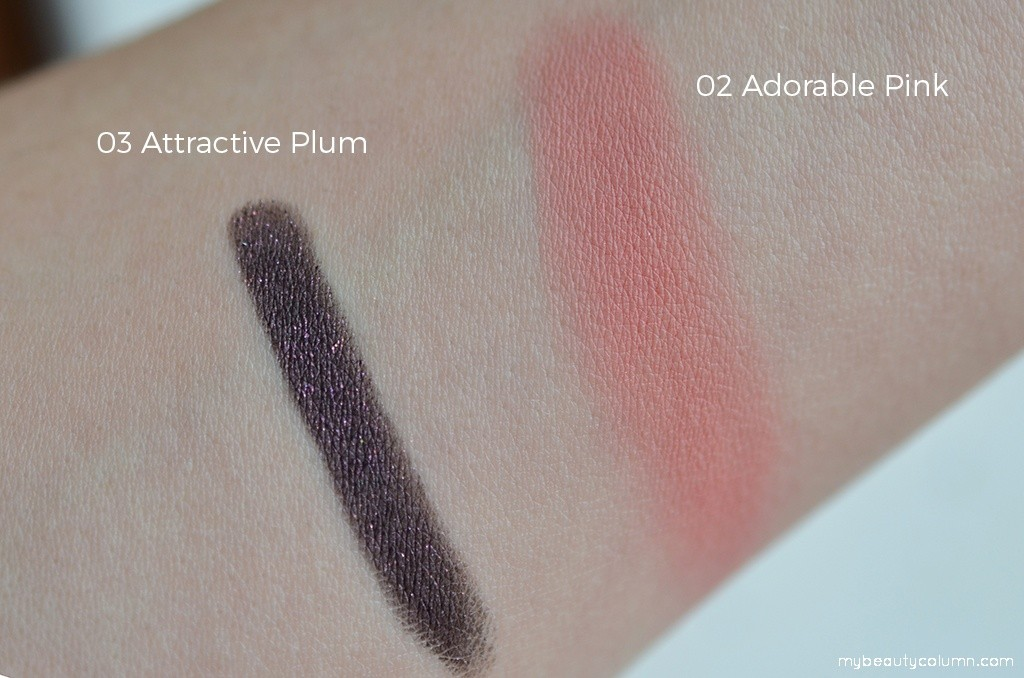 Kiko Swatches: Moon Shadow 03 Attractive Plum & Rebel Bouncy Blush 03 Adorable Pink