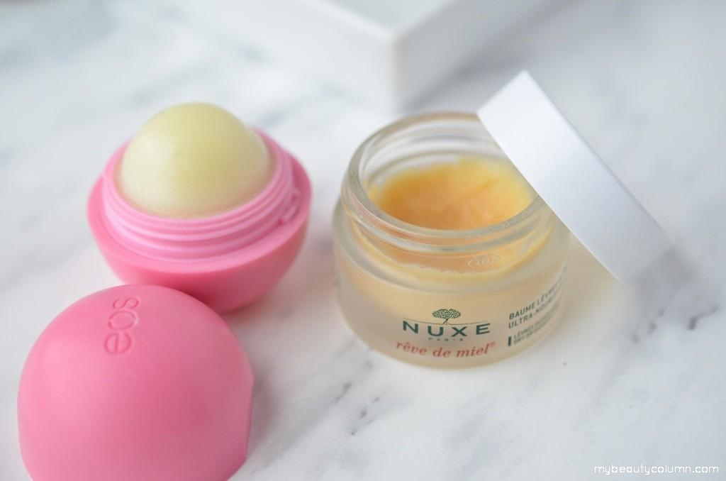 Eos lip balm Strawberry & Nuxe Reve De Miel lip balm