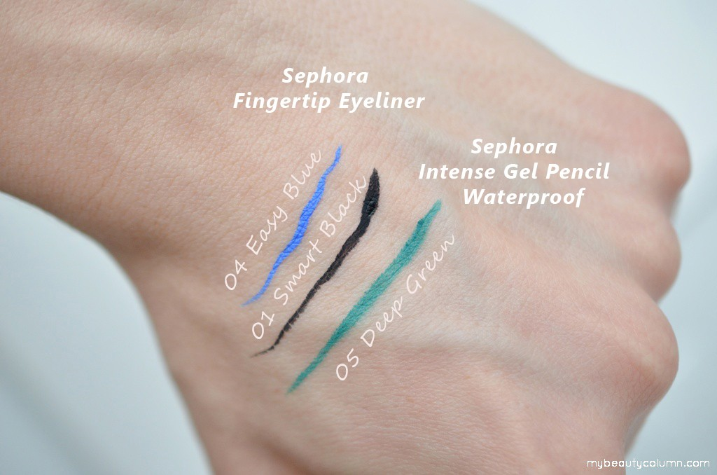 Sephora Fingertip Eyeliners & Intense Gel Pencil Waterproof swatch