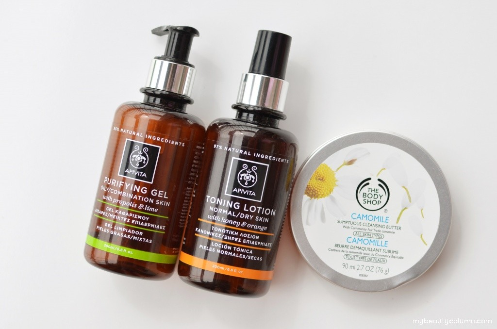 Apivita Purifying Gel, Toning Lotion & The Body Shop Camomile Cleansing Butter