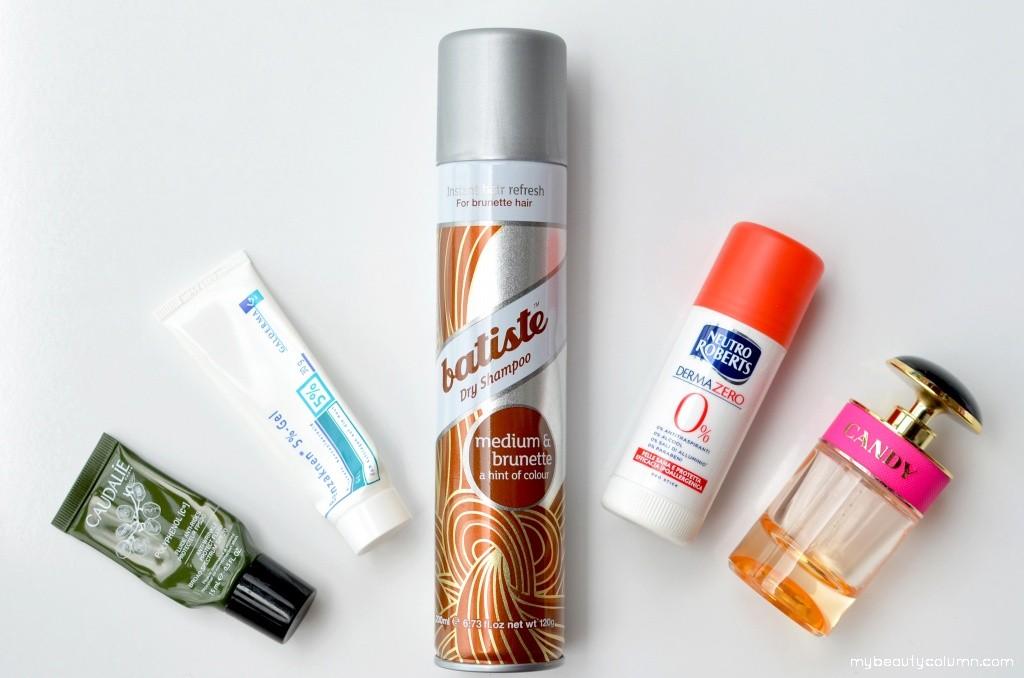 Batiste Dry Shampoo, Prada Candy, Caudalie Polyphenol cream spf 20, Benzaknen cream