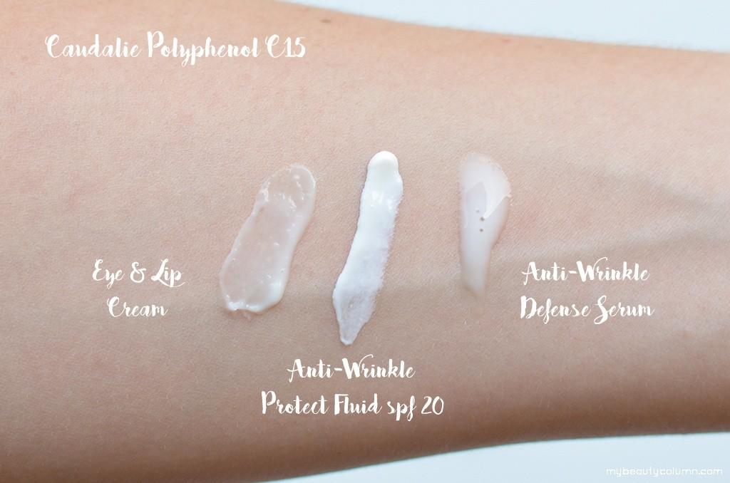 Caudalie Polyphenol C15 Swatches: Eye And Lip Cream, Fluid spf 20, Serum
