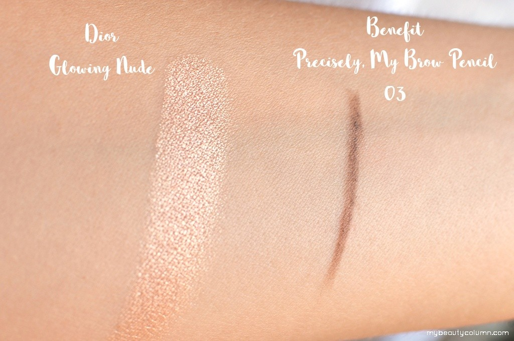 Dior Glowing Gardens Highlighter - 002 Glowing Nude & Benefit Precisely My Brow Pencil 03 Swatch