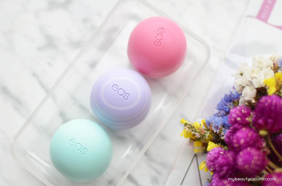EOS Lip Balms Smooth Sphere Strawberry Sorbet, Sweet Mint & Visibly Soft Lip Balm Blackberry Nectar