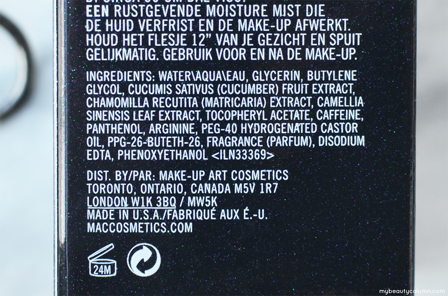 MAC Fix Plus Ingredients List