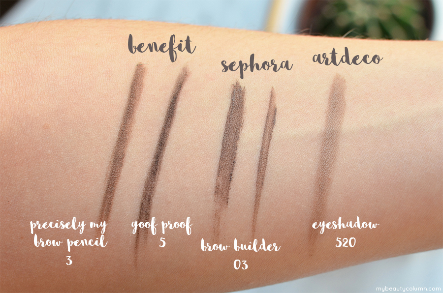 Brow Products Swatches: Benefit Precisely My Brow Pencil & Benefit Foof Proof, Sephora Brow Builder, Artdeco Eyeshadow