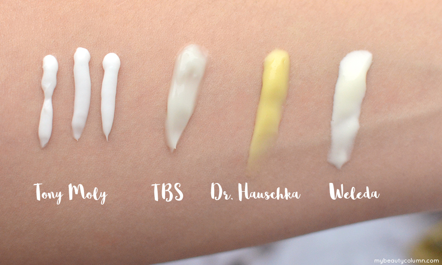 Handcream Swatch - Tony Moly, The Body Shop, Dr Hauschka, Weleda - MyBeautyColumn.com