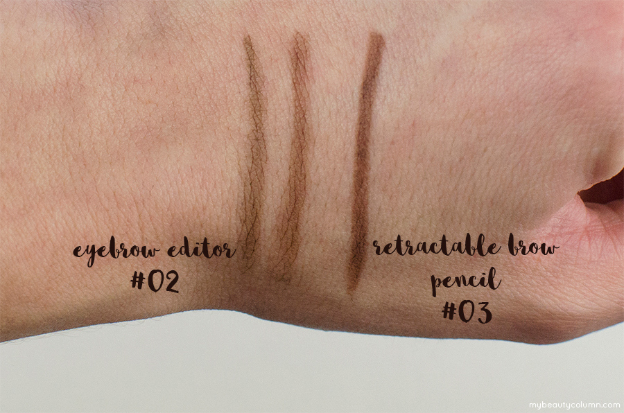 Sephora Eyebrow Editor & Sephora Retractable Brow Pencil Waterproof Swatches - MyBeautyColumn.com